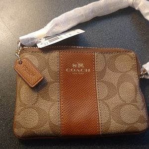 Coach Brown Signature Leather Wristlet Purse